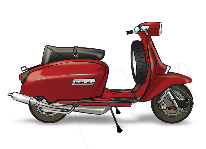 red lambretta illustrated Fine Art print