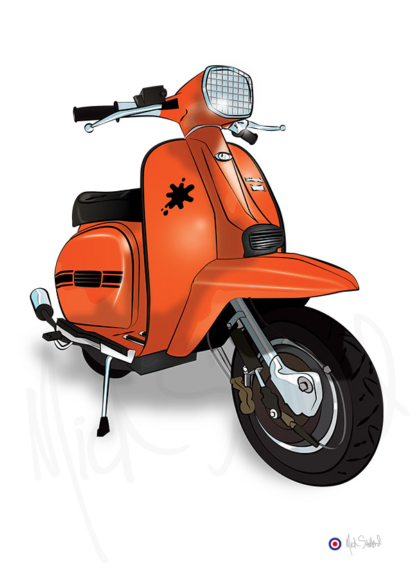 lambretta GP orange splat illustration artwork