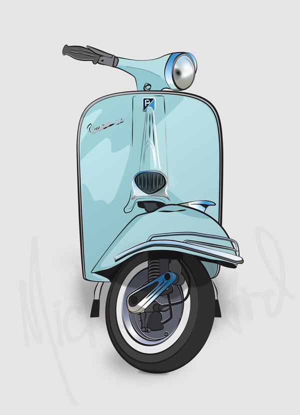 vespa scooter illustration print