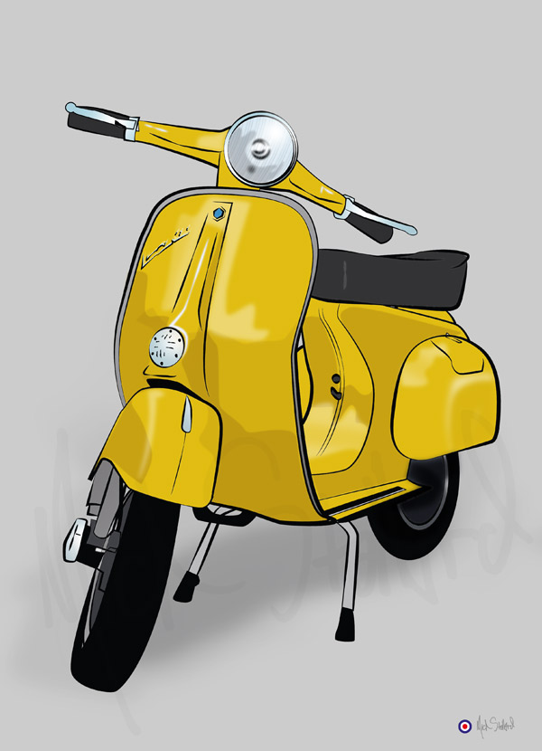 vespa primevera scooter illustration print